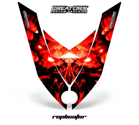 Ski Doo Rev XP Hood CreatorX Graphics Kit Alien Replicator Red 570x513 - Ski-Doo Rev XP Hood Graphics