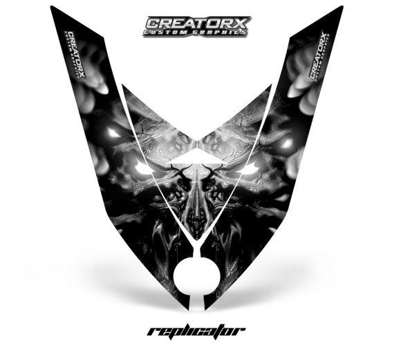 Ski Doo Rev XP Hood CreatorX Graphics Kit Alien Replicator Silver 570x513 - Ski-Doo Rev XP Hood Graphics