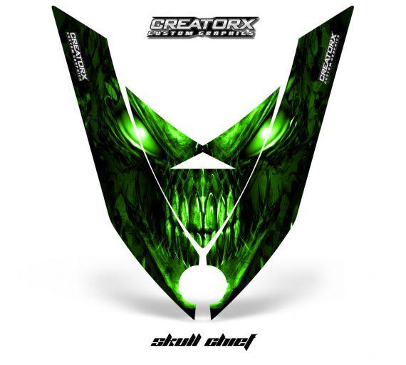 Ski Doo Rev XP Hood CreatorX Graphics Kit Skull Chief Green 570x513 - Ski-Doo Rev XP Hood Graphics
