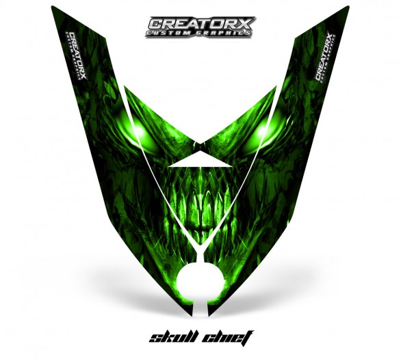 Ski-Doo-Rev-XP-Hood-CreatorX-Graphics-Kit-Skull-Chief-Green