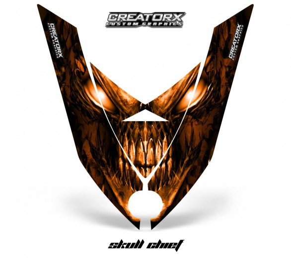 Ski-Doo-Rev-XP-Hood-CreatorX-Graphics-Kit-Skull-Chief-Orange