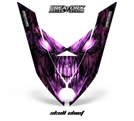 Ski Doo Rev XP Hood CreatorX Graphics Kit Skull Chief Pink 570x513 - Ski-Doo Rev XP Hood Graphics