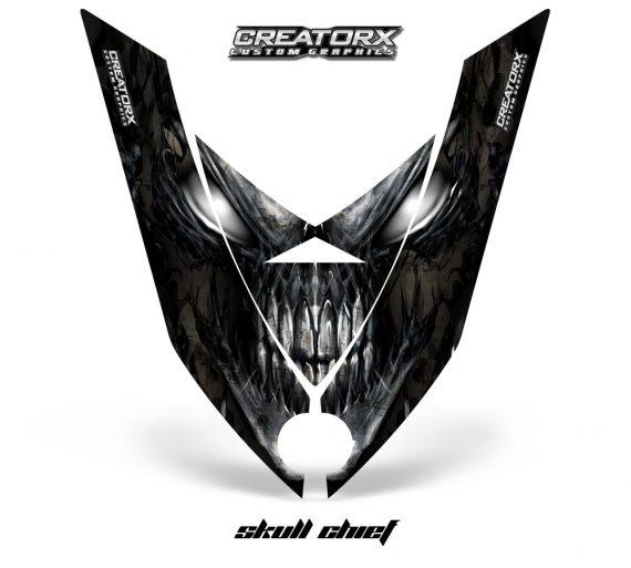 Ski Doo Rev XP Hood CreatorX Graphics Kit Skull Chief Silver 570x513 - Ski-Doo Rev XP Hood Graphics