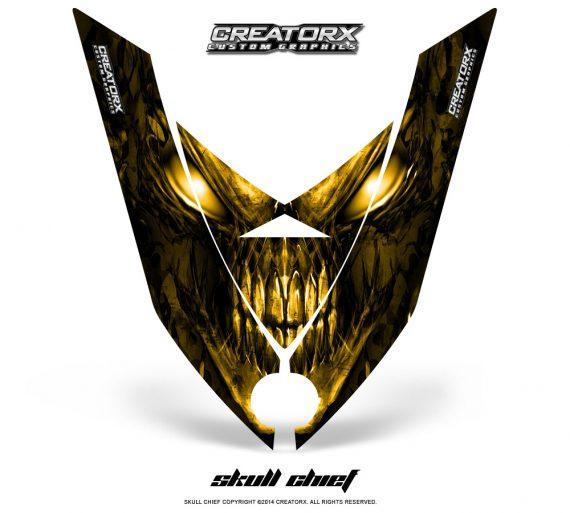 Ski Doo Rev XP Hood CreatorX Graphics Kit Skull Chief Yellow 570x513 - Ski-Doo Rev XP Hood Graphics