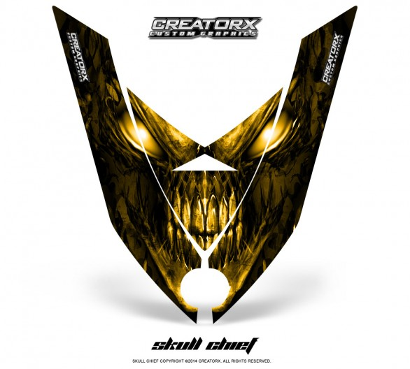 Ski-Doo-Rev-XP-Hood-CreatorX-Graphics-Kit-Skull-Chief-Yellow