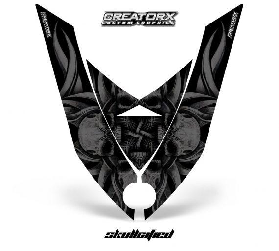 Ski Doo Rev XP Hood CreatorX Graphics Kit Skullcified Black 570x513 - Ski-Doo Rev XP Hood Graphics