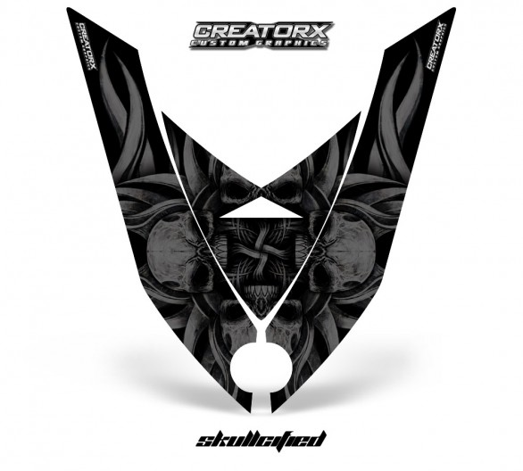 Ski-Doo-Rev-XP-Hood-CreatorX-Graphics-Kit-Skullcified-Black