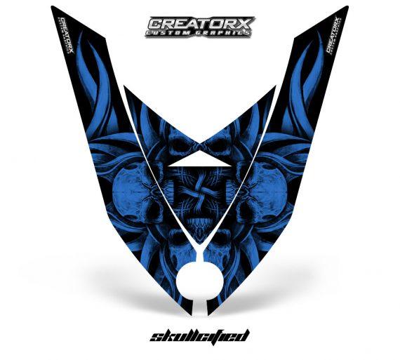 Ski Doo Rev XP Hood CreatorX Graphics Kit Skullcified Blue Flat 570x513 - Ski-Doo Rev XP Hood Graphics