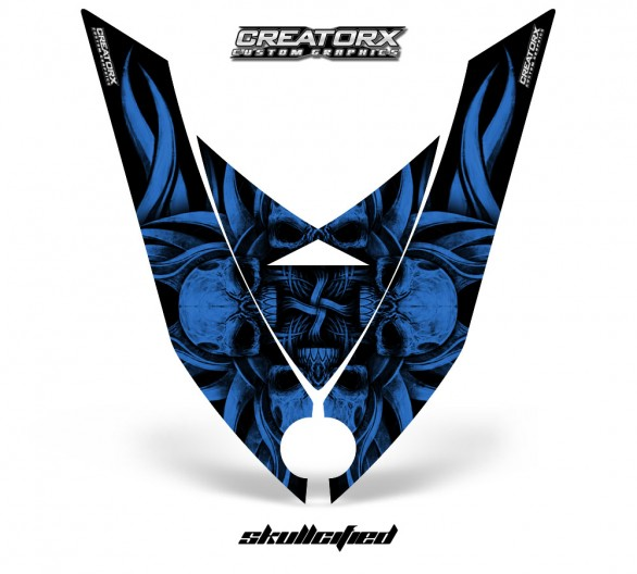 Ski-Doo-Rev-XP-Hood-CreatorX-Graphics-Kit-Skullcified-Blue-Flat