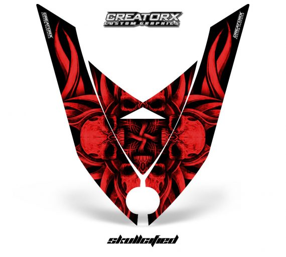 Ski Doo Rev XP Hood CreatorX Graphics Kit Skullcified Flat Red 570x513 - Ski-Doo Rev XP Hood Graphics