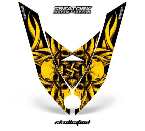 Ski Doo Rev XP Hood CreatorX Graphics Kit Skullcified Flat Yellow 570x513 - Ski-Doo Rev XP Hood Graphics