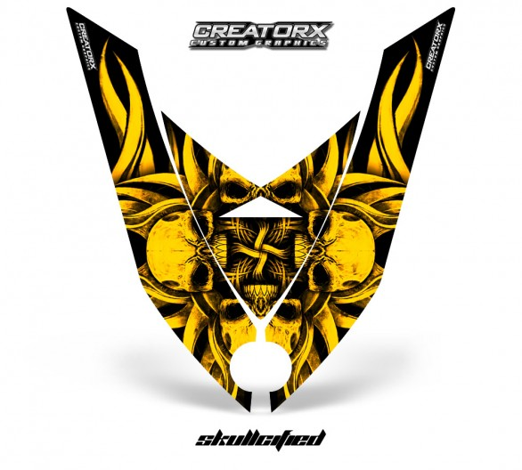 Ski-Doo-Rev-XP-Hood-CreatorX-Graphics-Kit-Skullcified-Flat-Yellow