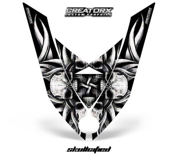 Ski Doo Rev XP Hood CreatorX Graphics Kit Skullcified Silver 570x513 - Ski-Doo Rev XP Hood Graphics