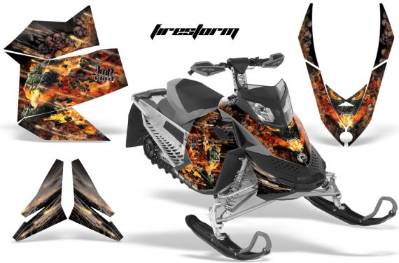 Skidoo REV XP AMR Graphics Kit BLACK Firestorm 570x376 - Ski-Doo Rev XP Graphics