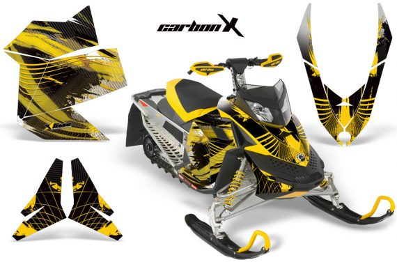 Skidoo REV XP AMR Graphics Kit Skidoo REV XP CarbonX MustardYellow 570x376 - Ski-Doo Rev XP Graphics