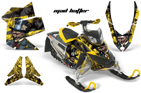 Skidoo REV XP AMR Graphics Kit YELLOW BLACKSTRIPE Madhatter 570x376 - Ski-Doo Rev XP Graphics
