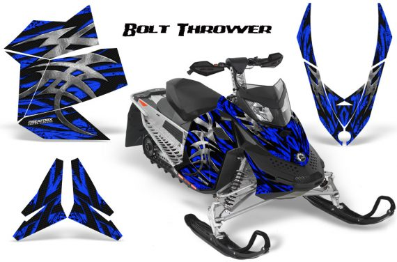 Skidoo REV XP CreatorX Graphics Kit Bolt Thrower Blue 570x376 - Ski-Doo Rev XP Graphics
