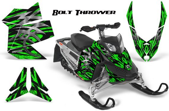 Skidoo REV XP CreatorX Graphics Kit Bolt Thrower Green 570x376 - Ski-Doo Rev XP Graphics
