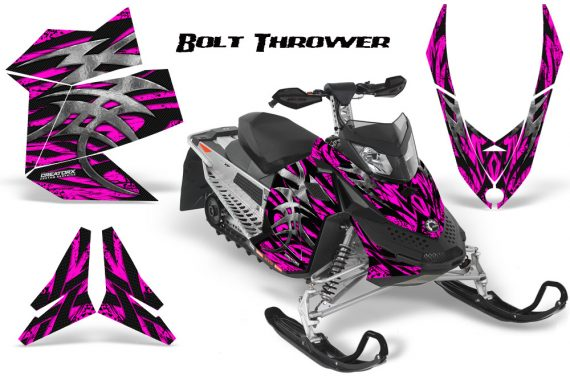 Skidoo REV XP CreatorX Graphics Kit Bolt Thrower Pink 570x376 - Ski-Doo Rev XP Graphics