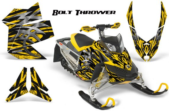 Skidoo REV XP CreatorX Graphics Kit Bolt Thrower Yellow 570x376 - Ski-Doo Rev XP Graphics