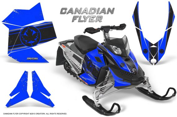 Skidoo REV XP CreatorX Graphics Kit Canadian Flyer Black Blue 570x376 - Ski-Doo Rev XP Graphics