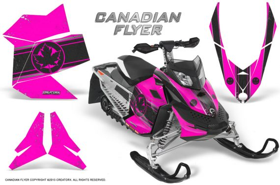 Skidoo REV XP CreatorX Graphics Kit Canadian Flyer Black Pink 570x376 - Ski-Doo Rev XP Graphics
