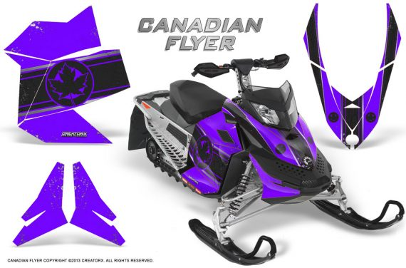 Skidoo REV XP CreatorX Graphics Kit Canadian Flyer Black Purple 570x376 - Ski-Doo Rev XP Graphics