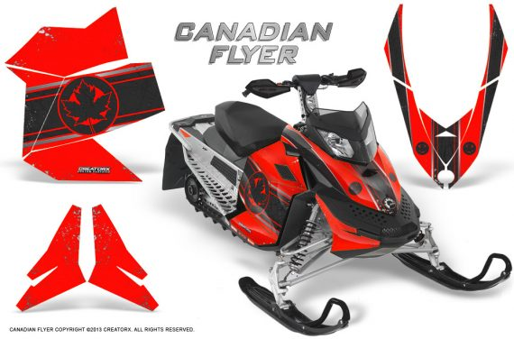 Skidoo REV XP CreatorX Graphics Kit Canadian Flyer Black Red 570x376 - Ski-Doo Rev XP Graphics