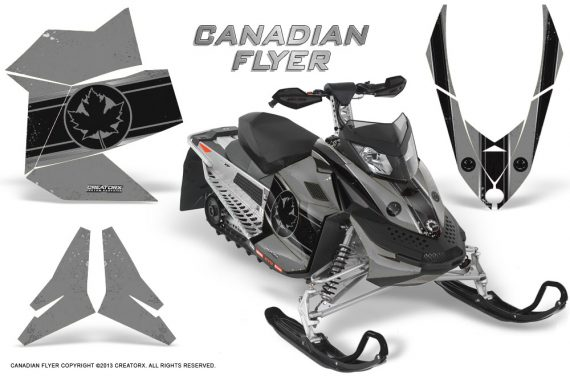 Skidoo REV XP CreatorX Graphics Kit Canadian Flyer Black Silver 570x376 - Ski-Doo Rev XP Graphics