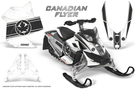 Skidoo REV XP CreatorX Graphics Kit Canadian Flyer Black White 570x376 - Ski-Doo Rev XP Graphics