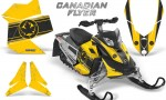Skidoo REV XP CreatorX Graphics Kit Canadian Flyer Black Yellow BB 150x90 - Ski-Doo Rev XP Graphics