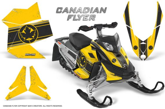 Skidoo REV XP CreatorX Graphics Kit Canadian Flyer Black Yellow BB 570x376 - Ski-Doo Rev XP Graphics