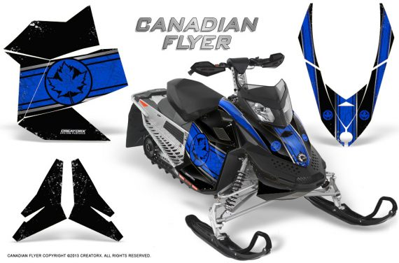 Skidoo REV XP CreatorX Graphics Kit Canadian Flyer Blue Black 570x376 - Ski-Doo Rev XP Graphics