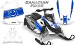 Skidoo REV XP CreatorX Graphics Kit Canadian Flyer Blue White 150x90 - Ski-Doo Rev XP Graphics