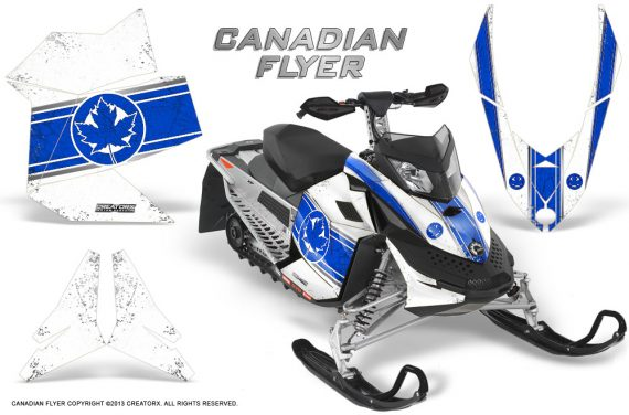 Skidoo REV XP CreatorX Graphics Kit Canadian Flyer Blue White 570x376 - Ski-Doo Rev XP Graphics