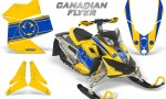 Skidoo REV XP CreatorX Graphics Kit Canadian Flyer Blue Yellow 150x90 - Ski-Doo Rev XP Graphics
