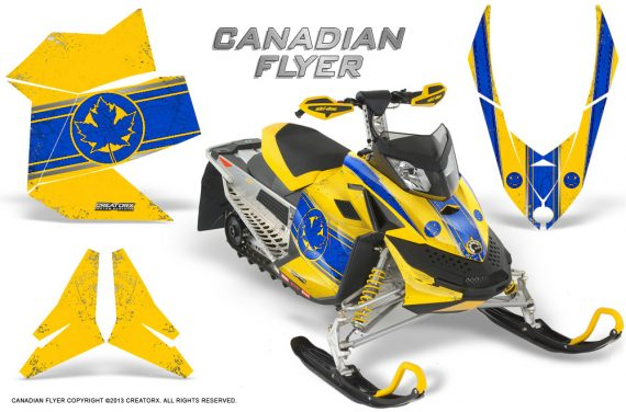 Skidoo REV XP CreatorX Graphics Kit Canadian Flyer Blue Yellow 570x376 - Ski-Doo Rev XP Graphics