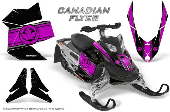 Skidoo REV XP CreatorX Graphics Kit Canadian Flyer Pink Black 570x376 - Ski-Doo Rev XP Graphics