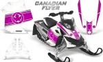 Skidoo REV XP CreatorX Graphics Kit Canadian Flyer Pink White 150x90 - Ski-Doo Rev XP Graphics
