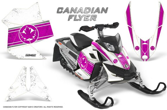 Skidoo REV XP CreatorX Graphics Kit Canadian Flyer Pink White 570x376 - Ski-Doo Rev XP Graphics