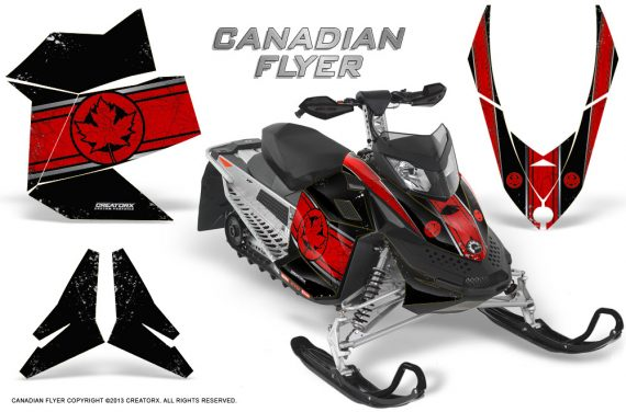 Skidoo REV XP CreatorX Graphics Kit Canadian Flyer Red Black 570x376 - Ski-Doo Rev XP Graphics