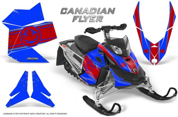 Skidoo REV XP CreatorX Graphics Kit Canadian Flyer Red Blue 570x376 - Ski-Doo Rev XP Graphics