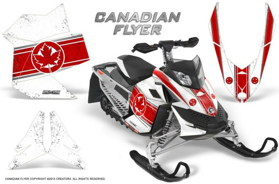 Skidoo REV XP CreatorX Graphics Kit Canadian Flyer Red White 570x376 - Ski-Doo Rev XP Graphics