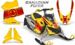 Skidoo REV XP CreatorX Graphics Kit Canadian Flyer Red Yellow 150x90 - Ski-Doo Rev XP Graphics