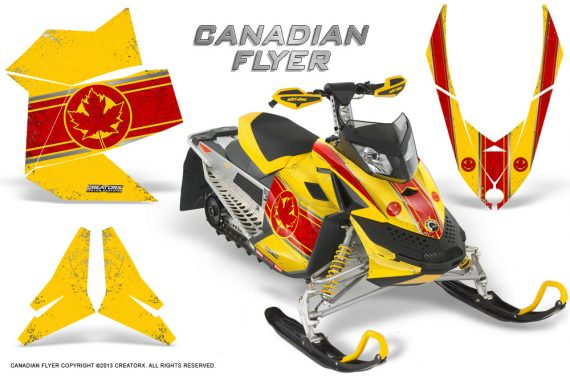 Skidoo REV XP CreatorX Graphics Kit Canadian Flyer Red Yellow 570x376 - Ski-Doo Rev XP Graphics