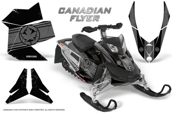 Skidoo REV XP CreatorX Graphics Kit Canadian Flyer Silver Black 570x376 - Ski-Doo Rev XP Graphics