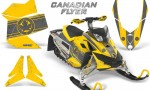 Skidoo REV XP CreatorX Graphics Kit Canadian Flyer Silver Yellow 150x90 - Ski-Doo Rev XP Graphics