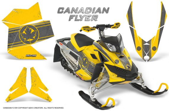 Skidoo REV XP CreatorX Graphics Kit Canadian Flyer Silver Yellow 570x376 - Ski-Doo Rev XP Graphics