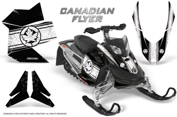 Skidoo REV XP CreatorX Graphics Kit Canadian Flyer White Black 570x376 - Ski-Doo Rev XP Graphics