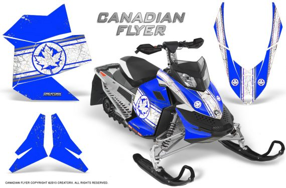 Skidoo REV XP CreatorX Graphics Kit Canadian Flyer White Blue 570x376 - Ski-Doo Rev XP Graphics